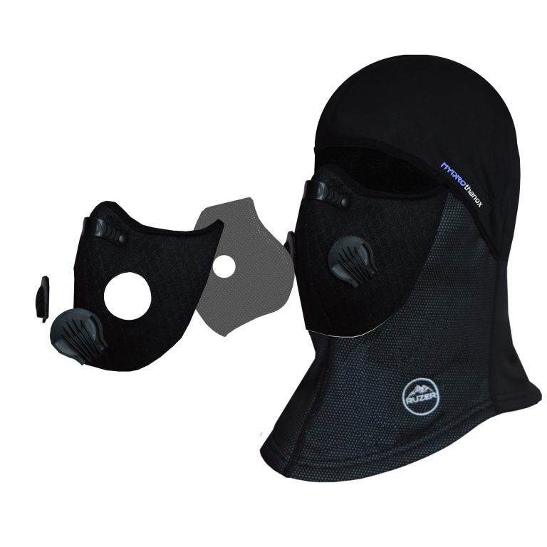 N95 N99 removable Face Mask Under Helmet Cycling Hat hood Black Balaclava fleece lining and lycra beanie skull cap with Pollution Air Filter hiking motorbike snowboard skiing pollution…