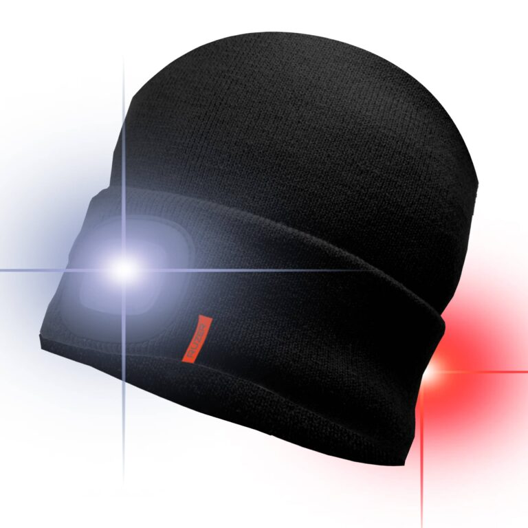 LED Beanie hat front and rear lights cycling safety red white light sports running hiking walking climbing