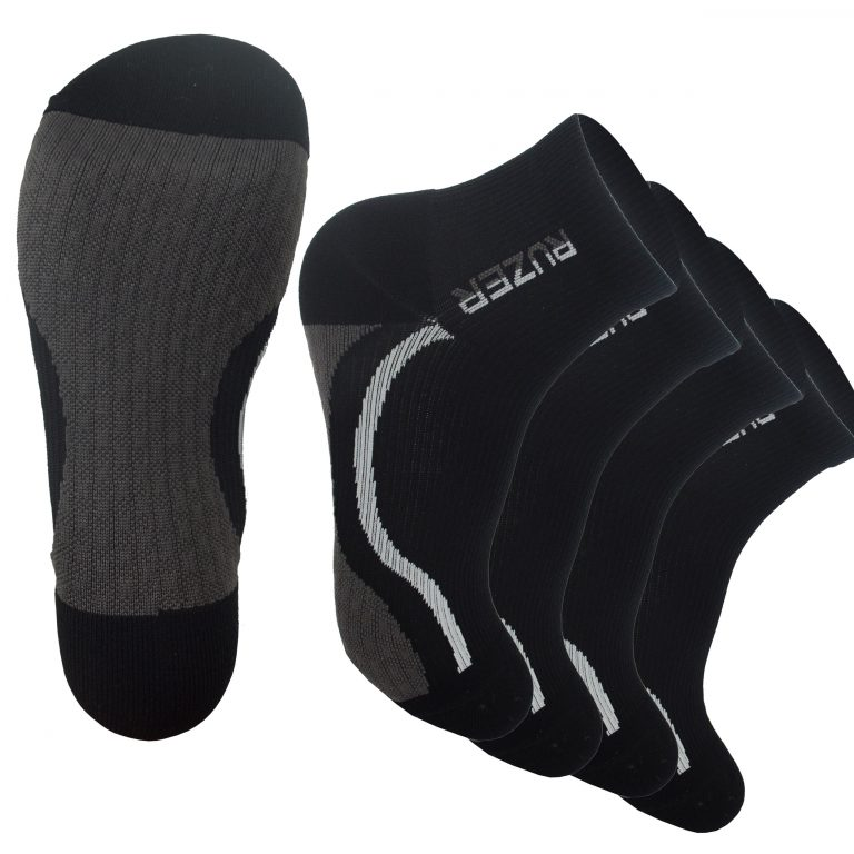 RUZER Sports Runners Compression Coolmax Socks Black arch support x Cushion Sweat Wicking Breathable Athletic football basketball yoga running hiking trekking