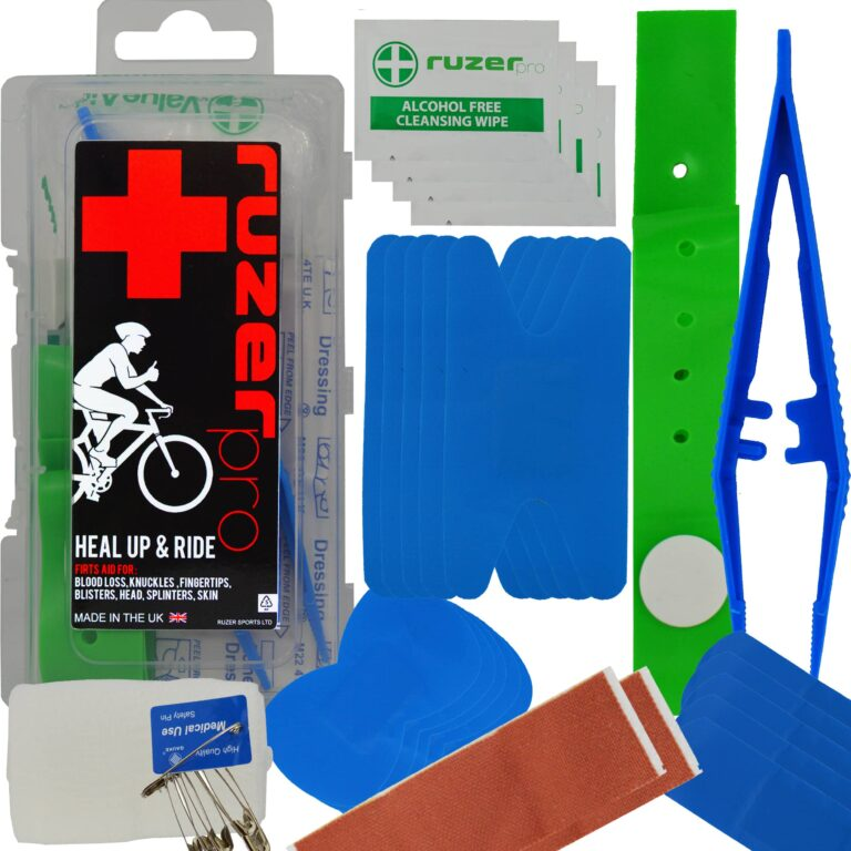 Cycling Sports 1st Aid kit Mini Compact Box case with Tourniquet, Tweezers, Bandage, 2X Blister Dressing, 5X Knuckle 5X fingertip 5X Strip, 2X Large Wound plasters, 6X Safety pins, 4X Wipes