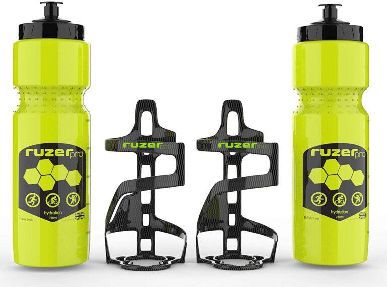 Rattle free 2x Carbon fibre pattern Bottle cage 2x 750ml Hi vis Neon Green bottles frame mount screws for bikes cycles
